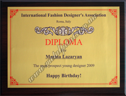 Diploma on a metal. International Fashion Designer's Association.